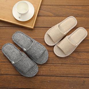 室内女新款居家木地板家用亚麻拖鞋