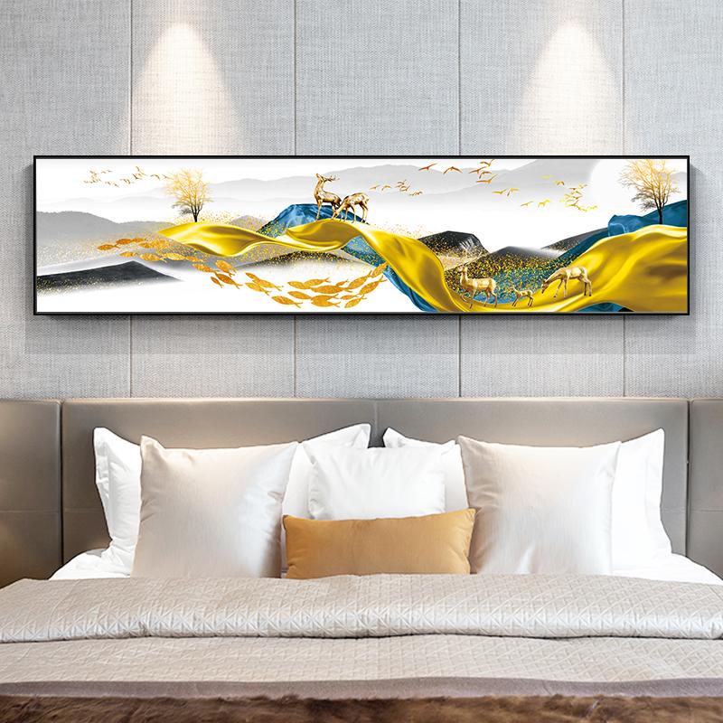 新中式床头装饰画卧室挂画北欧温馨客厅抽象横幅沙发背景墙壁画