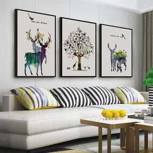 饰画现代简约餐厅简欧挂画油画 北欧壁画三联组合沙发背景墙客厅装