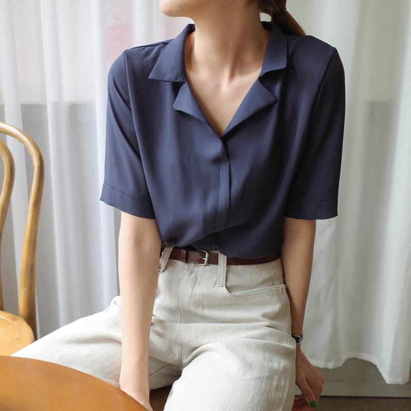 蕾可妮斯2019新款短袖纯色雪纺衬衫