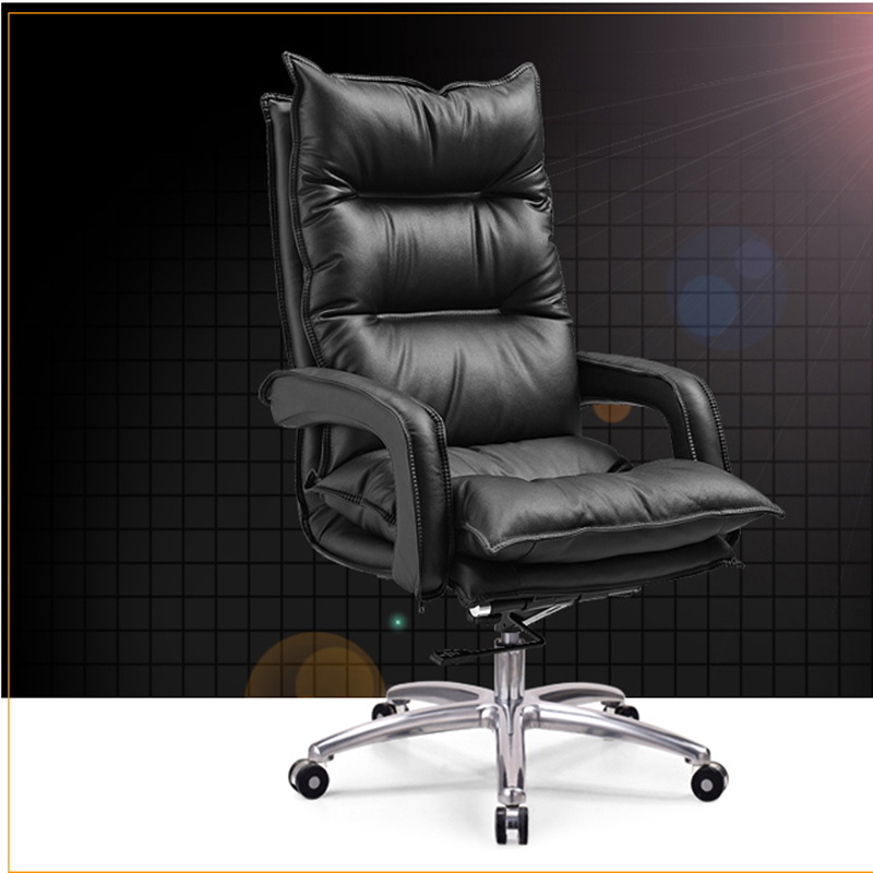 Lifu new coffee color other furniture boss chair cowhide big class chair steel foot swivel chair computer chair office chair