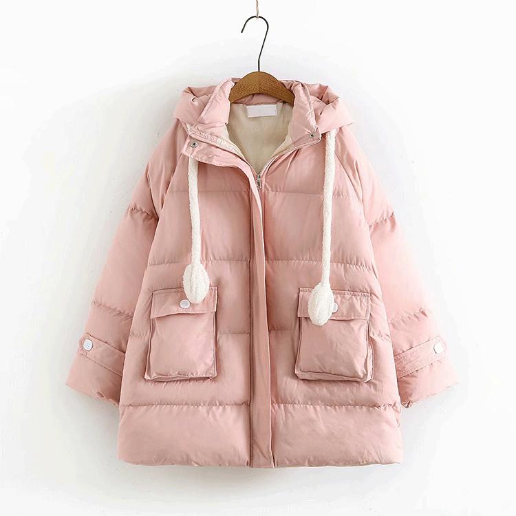 會動的兔耳朵棉服女冬可愛面包服中長款2019新韓版寬松小個子棉衣