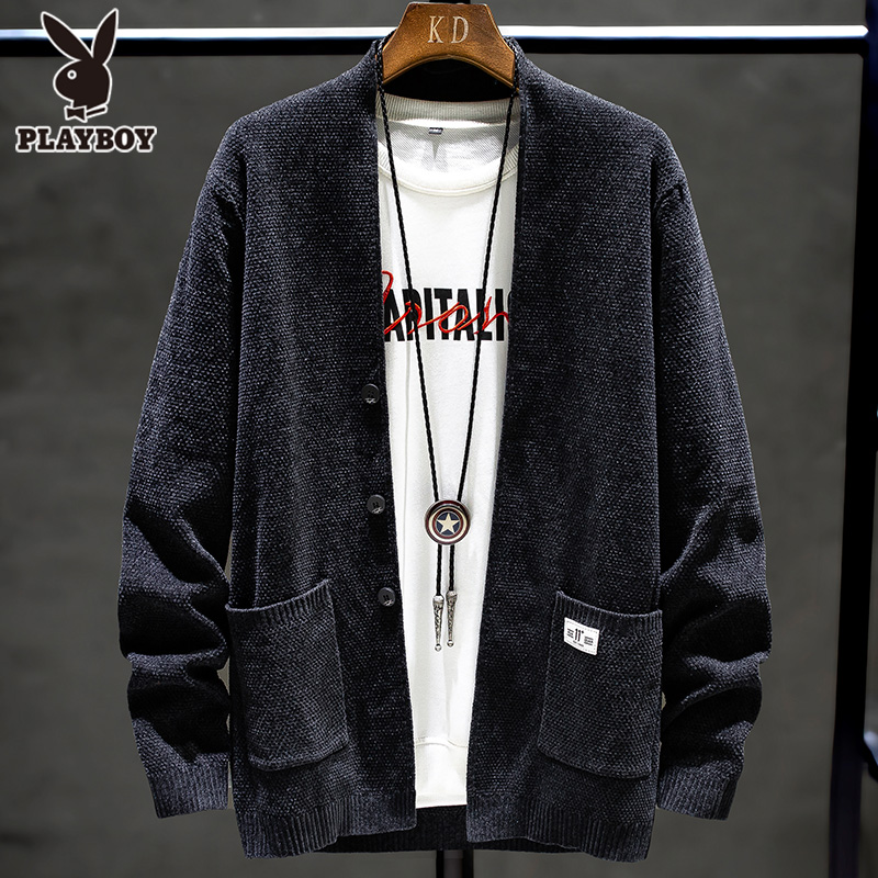 Playboy spring and autumn knit sweater long-sleeved men's outer sweater ins Hong Kong style Korean male personality jacket cardigan