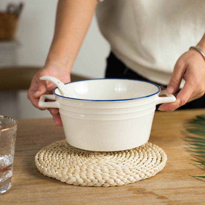 北欧风陶瓷釉下彩双耳大容量泡面拉面汤碗防烫隔热螺蛳粉碗家用14.9元