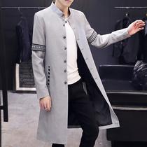 男士风衣过膝2019新款韩版潮流大衣男装披风秋季薄款外套男中长款