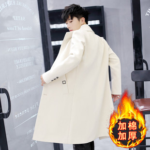 加棉韩版帅气修身秋冬季风衣男中长款毛呢大衣男士过膝呢子外套褂