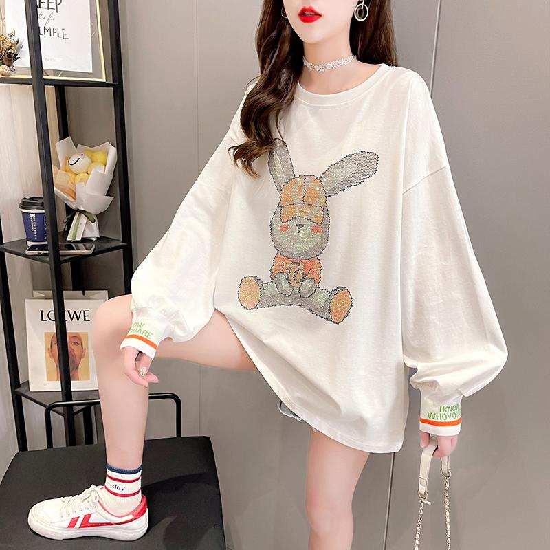 实拍 秋装新款韩版宽松圆领卡通印花中长款大码女装长袖卫衣女