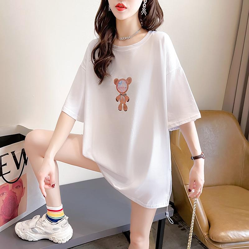 实拍2021夏装韩版宽松圆领卡通刺绣上衣中长款大码女装短袖T恤女