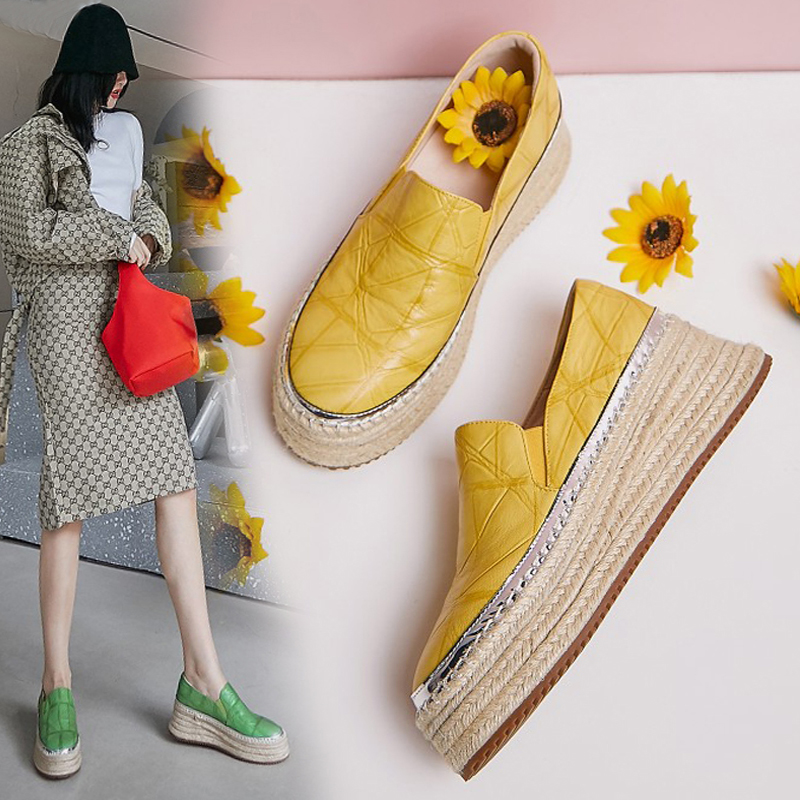 草编厚底松糕鞋女2021春款真皮坡跟懒人单鞋黄色高跟一脚蹬渔夫鞋