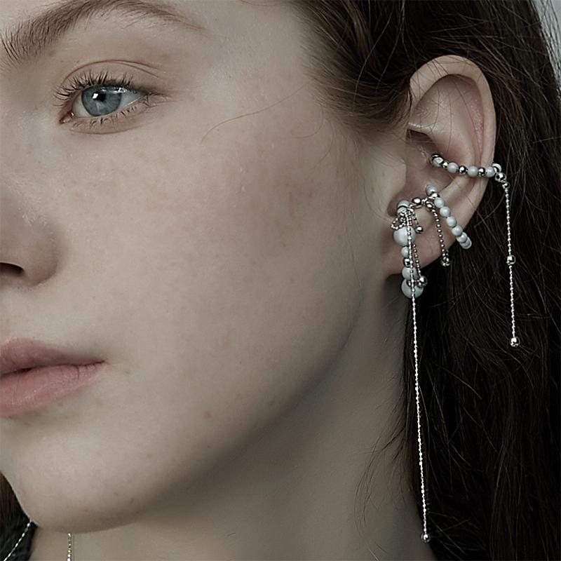 BING两个珠子系列 简约一款多戴款纯银无耳洞耳骨夹耳环戒指两用