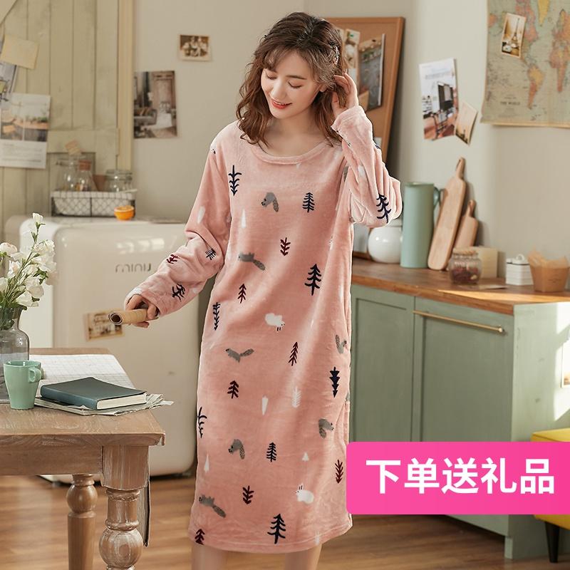 睡裙女秋冬季珊瑚绒长袖长款过膝家居服宽松睡衣女加厚保暖法兰绒