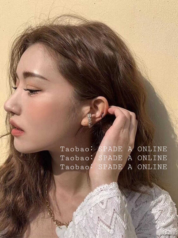 925银针韩国东大门小众stylenanda锆石缠绕耳钉女