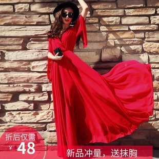 2019女新款夏气质韩版显瘦沙滩裙子