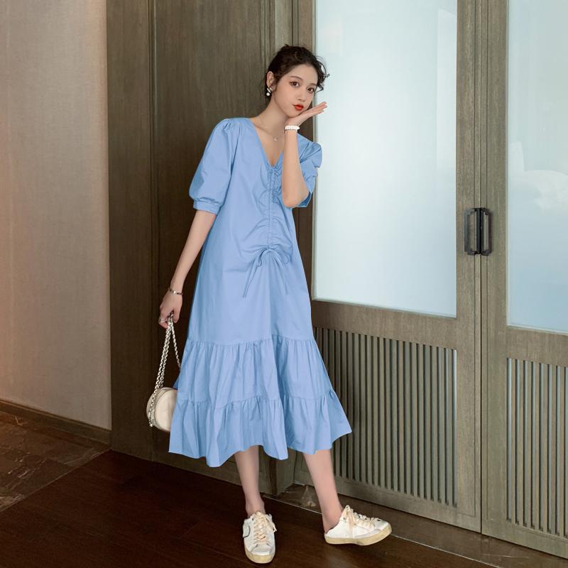 韩国夏装孕妇裙宽松法式V领褶皱抽绳荷叶边中长款连衣裙鱼尾裙潮图片