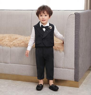 儿童西装套装男童周岁生日礼服男宝宝三件套花童小西装婴儿套装夏