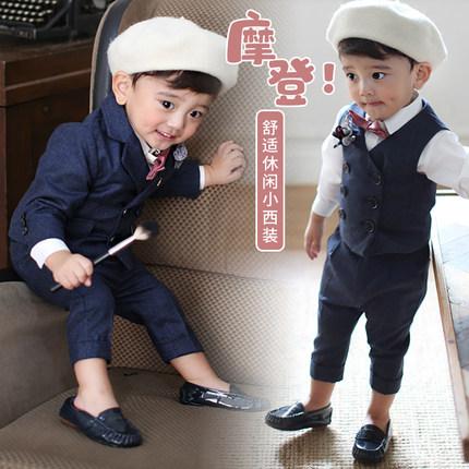 儿童小西装套装夏款儿童男童西服花童礼服宝宝周岁礼服帅气韩版