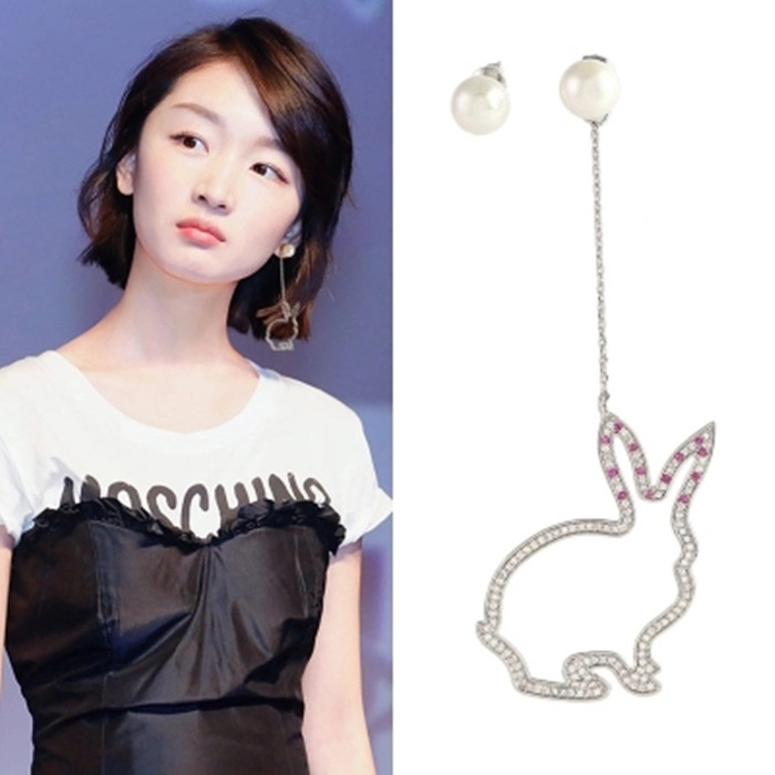 Zhou Dongyus same asymmetric rabbit Earrings full of drill ear clip without ear hole pearl eardrop silver needle 925