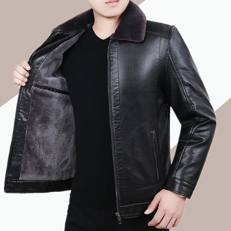 秋冬季中年男士加绒加厚皮衣外套宽松中老年人爸爸装上衣皮夹克男