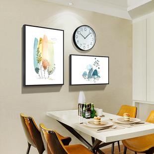 饰画餐厅墙面装 饰钟表壁画三件套创意挂钟北欧饭厅餐厅挂画 餐桌装