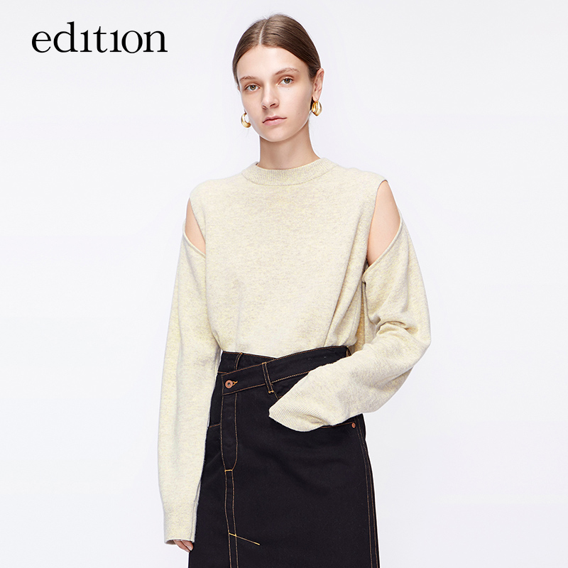 Edition loose sweater women's winter design sense hollow binding sleeve multi wear wool sweater Moco