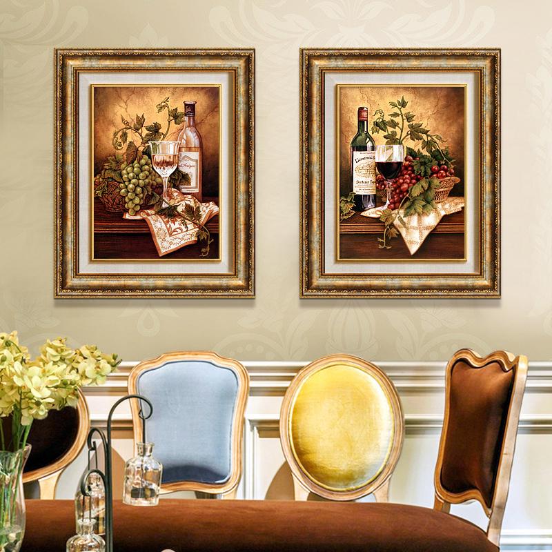 餐厅装饰画欧式背景墙画壁画美式竖版玄关走廊水果红酒西餐厅挂画