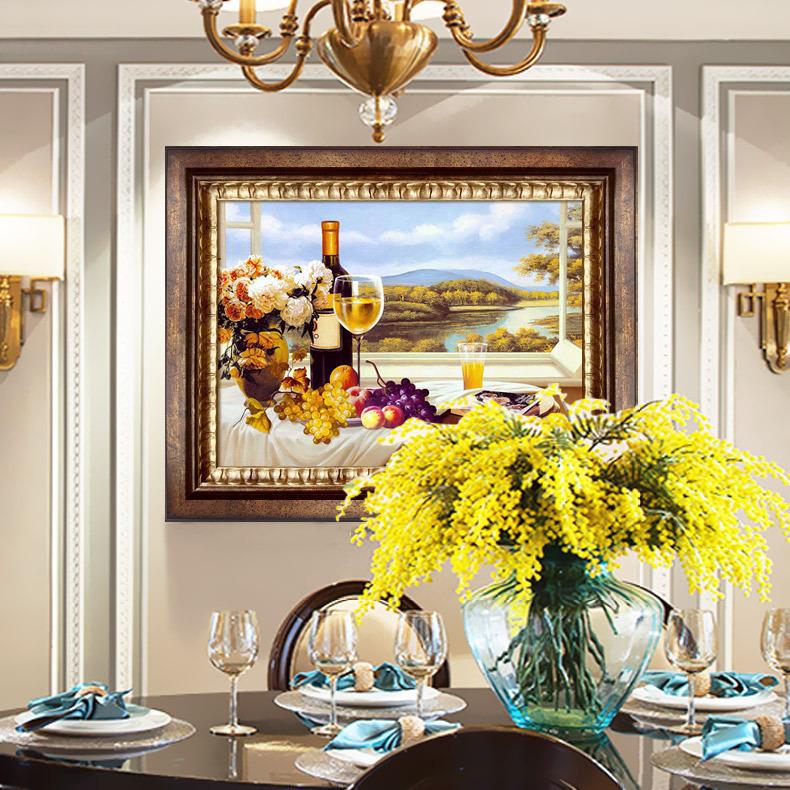 美式复古餐厅装饰画欧式客厅横版款简约现代水果酒杯红酒壁画挂画