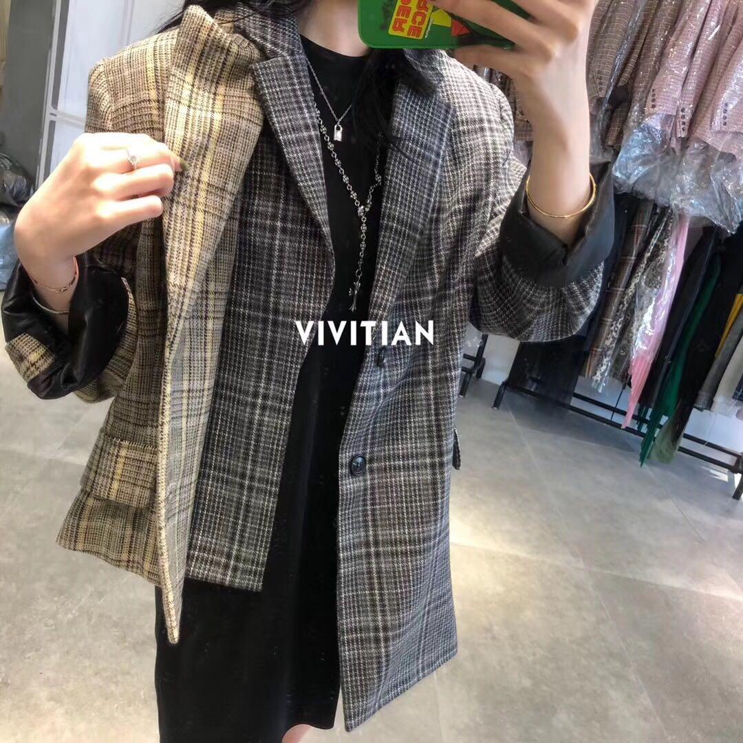 欧洲站 特价 2018新款秋冬ye-yes毛呢不规则格子条纹西装外套