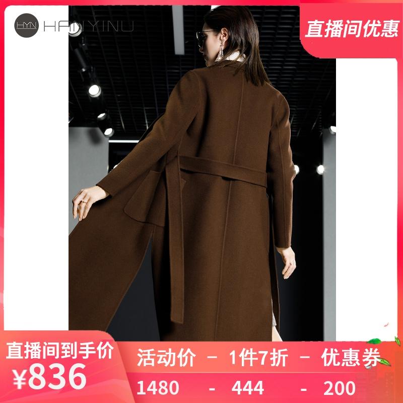 2020新款春秋韩版双面无羊绒大衣女长款纯手工羊毛赫本风毛呢外套