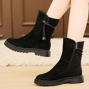 冬季女鞋平跟女靴中筒靴磨砂牛皮靴子加绒棉靴女棉鞋雪地靴大码41