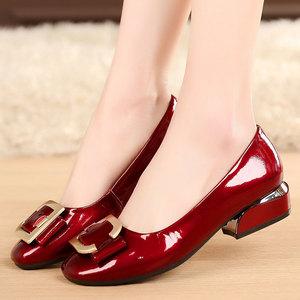 春季女鞋粗跟鞋子女新款中跟单鞋小皮鞋职业真皮浅口百搭大码4143