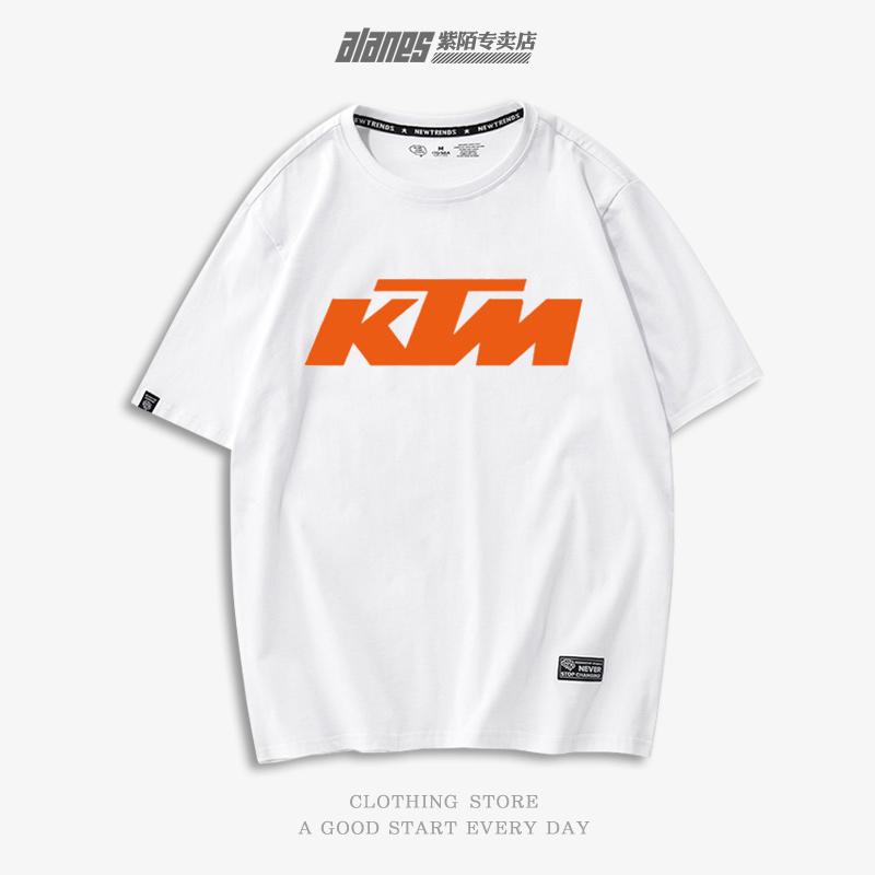 ktm越野摩托车套头男女赛车机车服装上衣服纯棉短袖T恤青少年男女