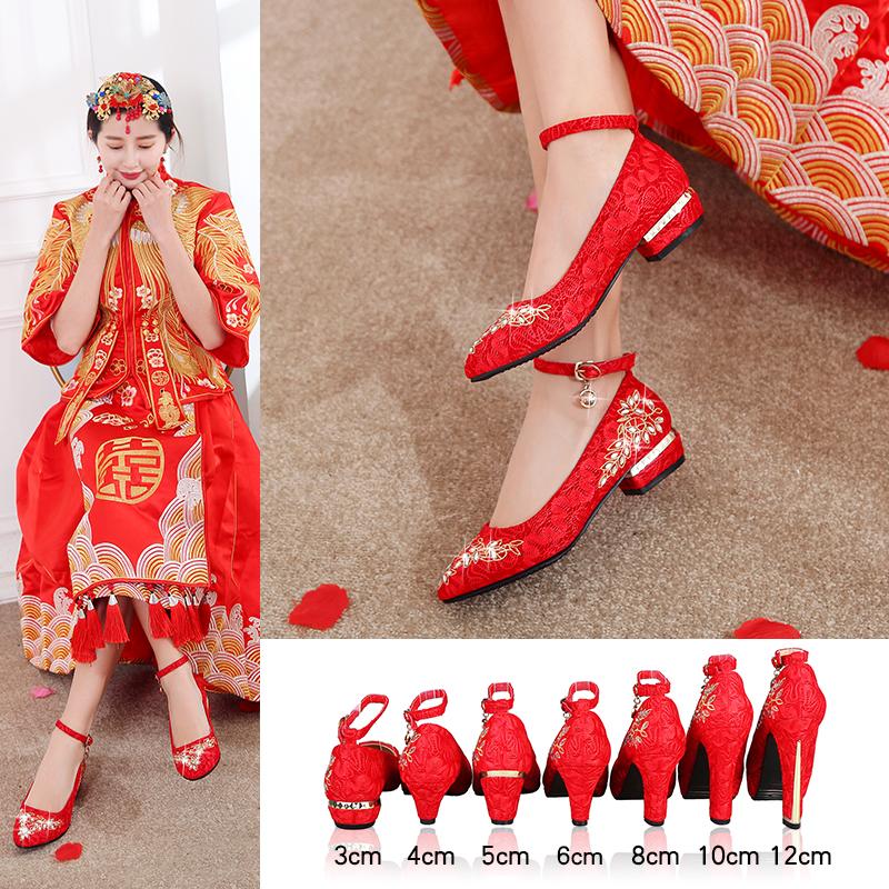 秀禾女红色中式圆头一字带新娘鞋