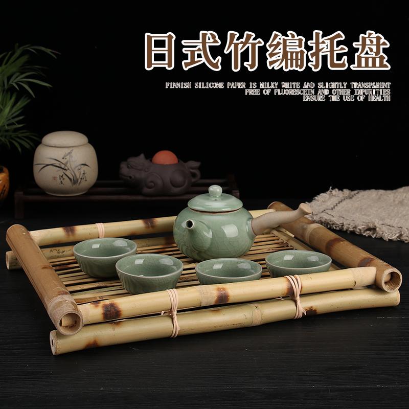 竹编托盘长方形日韩料理店盘奉茶托盘创意竹制寿司盘酒店果盘餐盘
