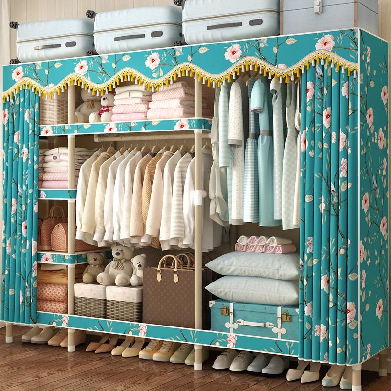 简易衣柜布衣柜现代简约钢管加粗加固出租房用布艺家用收纳挂衣橱