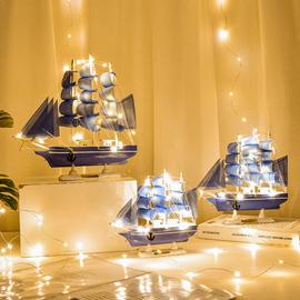 一帆风顺帆船地中海风格装饰品摆件创意船模型工艺品海盗船小木船图片