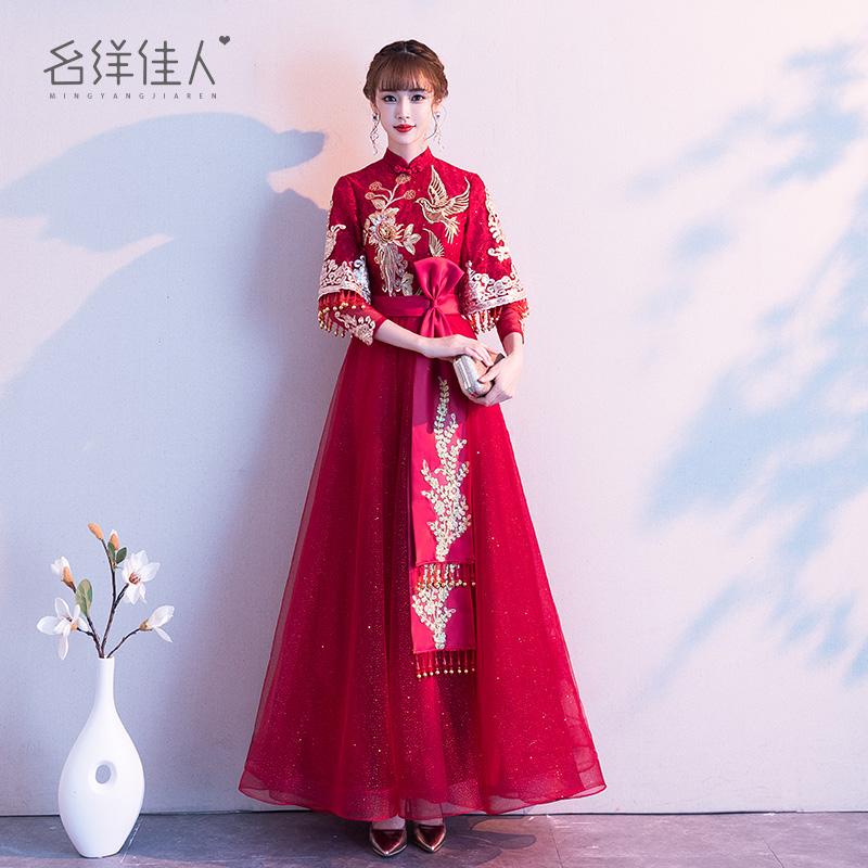 结婚敬酒服新娘女2020新款中式酒红色旗袍回门礼服长款显瘦秀禾服