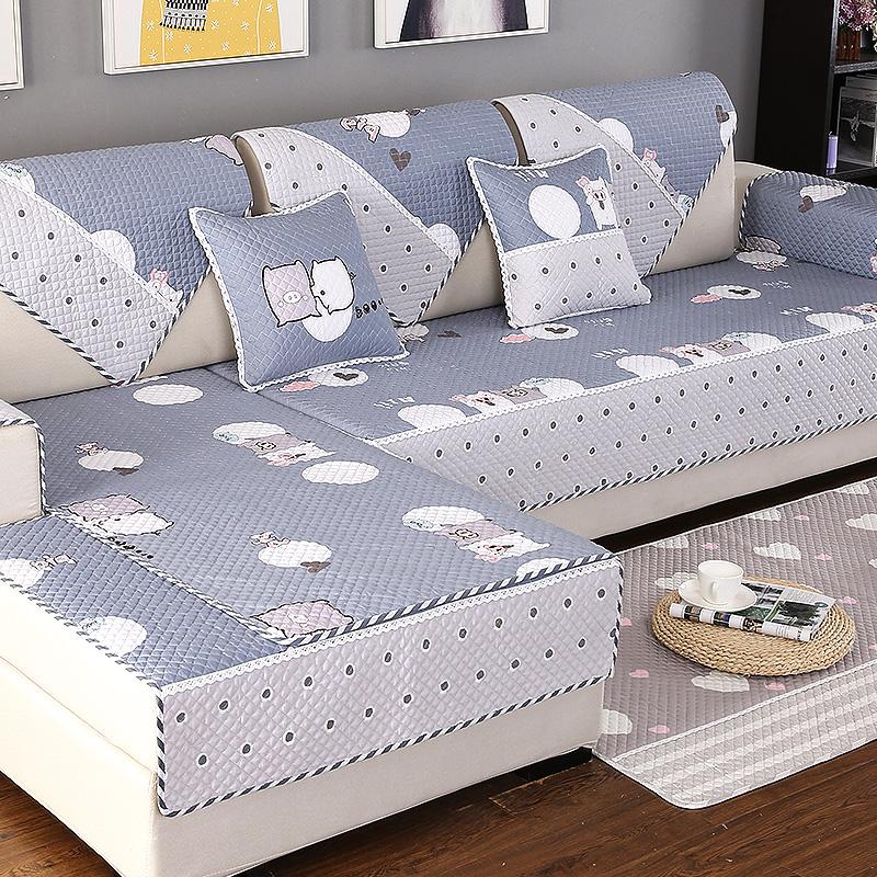 四季通用全棉布艺沙发垫简约现代客厅全包万能套罩防滑定做坐垫子热销24件假一赔三