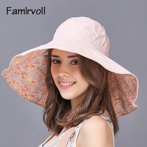 遮阳帽女夏天户外折叠大沿防晒防紫外线海边沙滩渔夫太阳帽子韩版