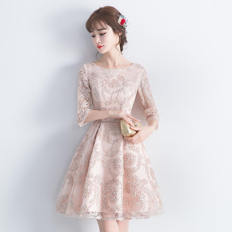 高端日常晚礼服2021新款优雅宴会气质名媛小个子伴娘连衣裙女短款