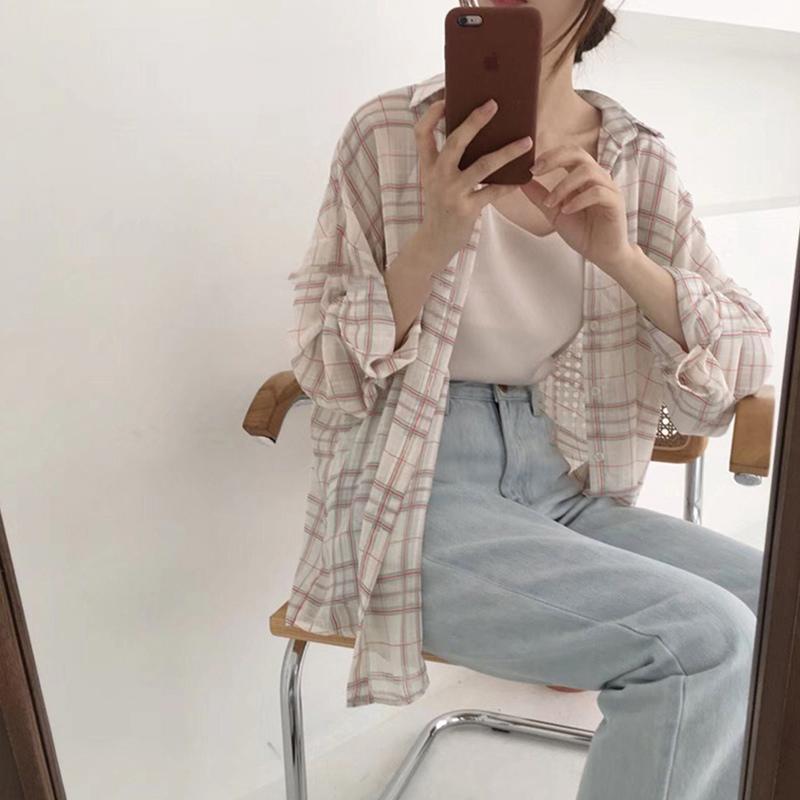 格子长袖2019夏季新款韩版宽松衬衫热销28件假一赔十