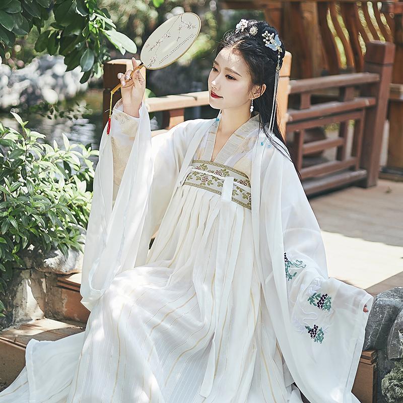 清水丽香新款白知音唐装汉服女齐胸中国风古装鲛人泪汉服刺绣套装