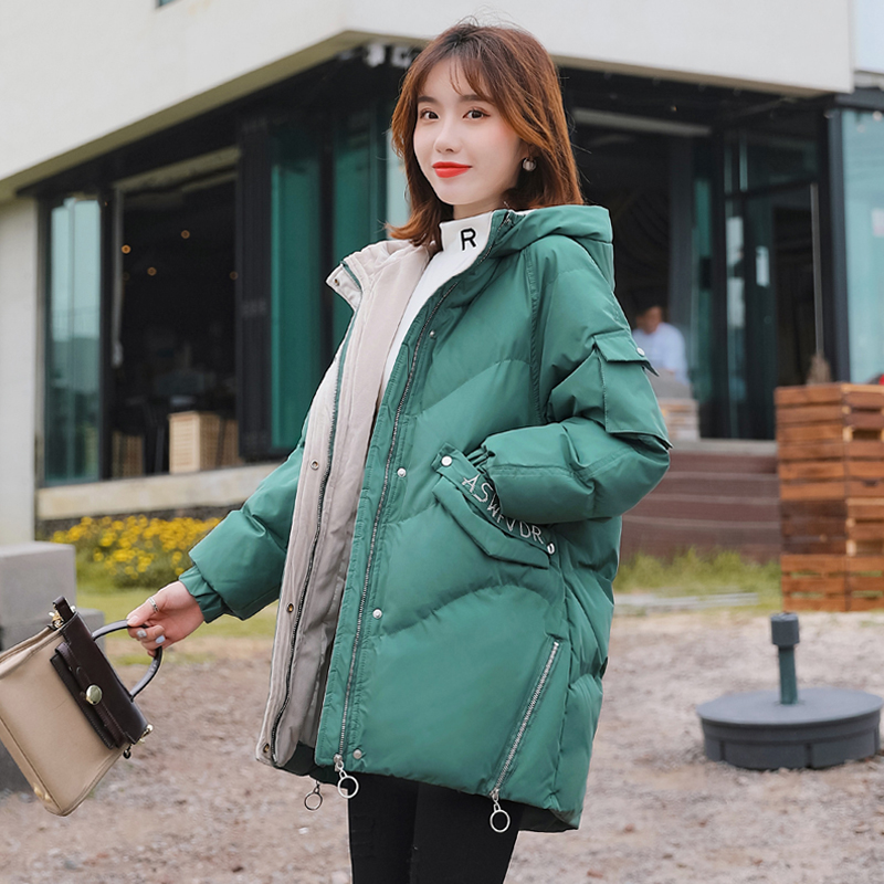 2019 new winter mid long Korean cotton clothes ins bread coat cotton padded jacket loose and thickened cotton padded jacket womens wear