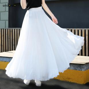 三层雪纺半身裙长裙a字蓬蓬裙高腰裙子仙女裙秋冬 smilence春夏季