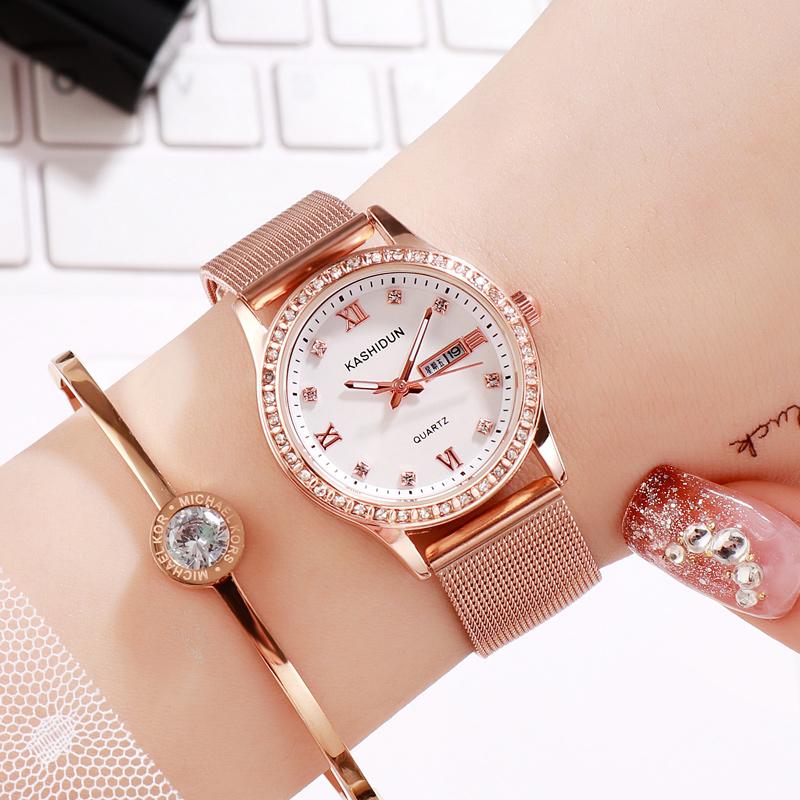 新款时尚2020女生手表双日历水钻皮带石英表女士韩版网红钢带女表