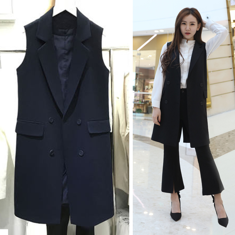 Chic suit waistcoat, medium and long style, spring and autumn cantilever, Korean version, large size, slim waistcoat, sleeveless jacket