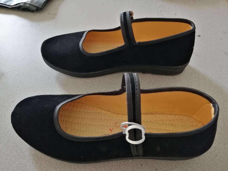 成人儿童大合唱中学生演出鞋子军装新四军八路军红军黑色布鞋女士