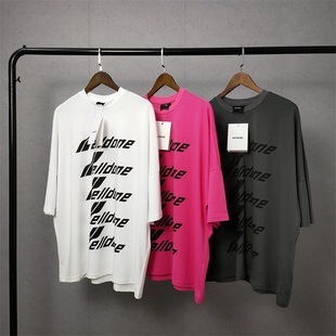 正確版 We11done字母logo印花寬鬆welldone男女情侶BF風短袖T恤潮
