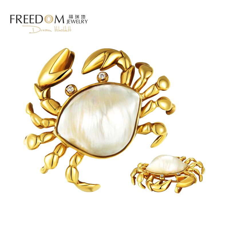 Freidi high end luxury jewelry womens 18K Gold Diamond natural pearl crab dual purpose Pendant Necklace / Brooch