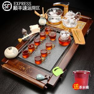家用整套紫砂功夫茶具套装玻璃壶喝茶四合一体全自动实木茶盘茶道