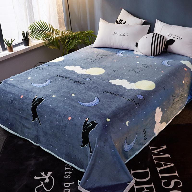 冬季毯子被子加厚保暖床垫毛毯垫法兰绒加绒床单人法莱水晶珊瑚绒
